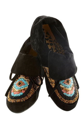 Wanders Never Cease Bootie - Black, Multi, Beads, Boho, Flat, Print, Casual, Good, Fall