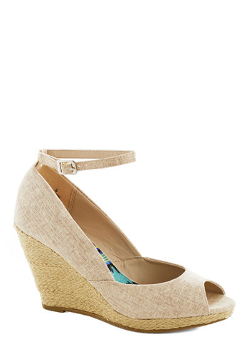 Want to Wander? Wedge - Tan, Wedding, Daytime Party, Bridesmaid, Platform, Wedge, Peep Toe, Mid, Solid, Party, Spring, Summer