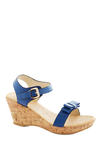 Lakeside Celebration Wedge - Blue, Solid, Bows, Platform, Wedge, Mid, Leather, Faux Leather, Summer
