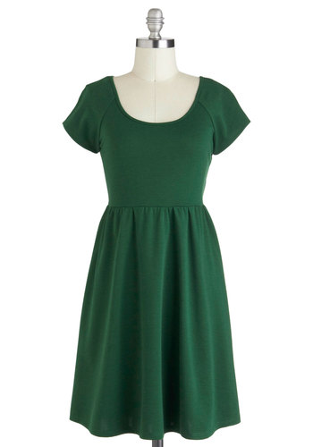 Pine With Me Dress - Mid-length, Green, Solid, Cutout, Casual, A-line, Cap Sleeves, Minimal