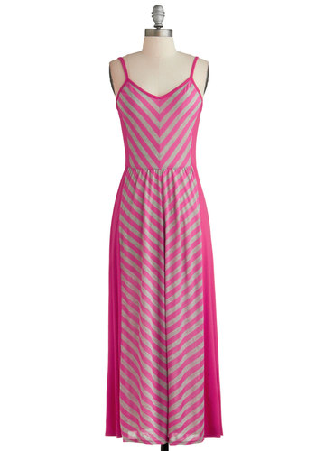 Beach Week Dress - Long, Pink, Grey, Stripes, Casual, Maxi, Spaghetti Straps, V Neck, Beach/Resort, Summer, Chevron, Exclusives