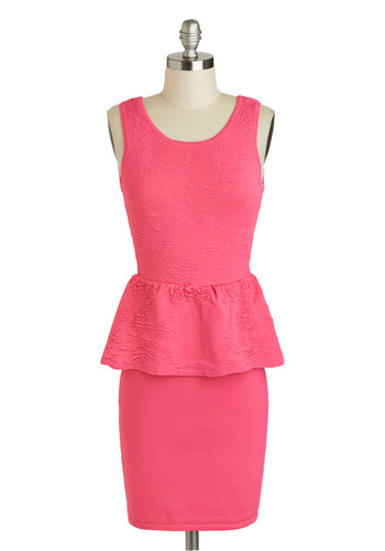 Profession My Love Dress - Short, Pink, Solid, Party, Peplum, Tank top (2 thick straps), Scoop, Girls Night Out, Summer