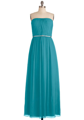 The Local Muse Dress in Turquoise - Blue, Solid, Maxi, Strapless, Formal, Prom, Wedding, Vintage Inspired, Long, Exclusives, Belted, Ruching, Variation, Bridesmaid