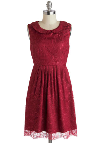Feeding the Doves Dress in Berry - Mid-length, Red, Solid, Cutout, Lace, Peter Pan Collar, Party, A-line, Sleeveless, Collared, Holiday Party, Variation, Gifts Sale, Lace