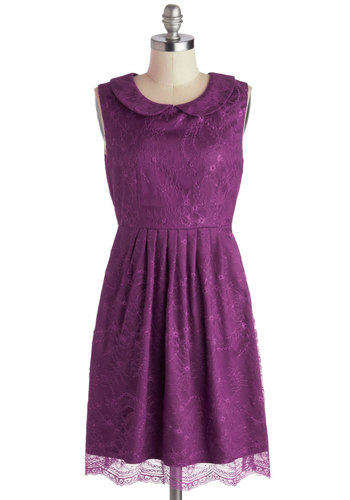 Feeding the Doves Dress in Plum - Mid-length, Purple, Solid, Cutout, Lace, Peter Pan Collar, Party, A-line, Sleeveless, Collared, Variation