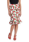 Go for Folk Skirt in Blossoms - Long, Cotton, Red, Green, Floral, Work, Daytime Party, Vintage Inspired, Pencil, White, Ruffles