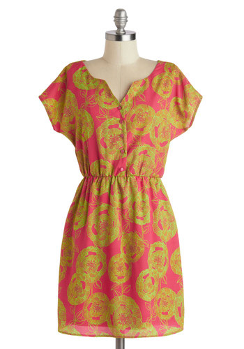 Cruise Stories Dress - Short, Pink, Green, Floral, Buttons, Casual, A-line, Short Sleeves, Beach/Resort