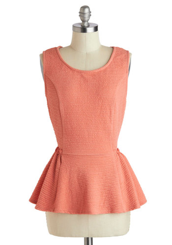 Cantaloupe Cocktail Top - Mid-length, Coral, Solid, Work, Peplum, Sleeveless, Party, Daytime Party, Scoop, Pink, Sleeveless