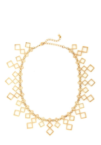 Looking Golden Necklace - Gold, Solid, Cutout, 20s, Gold