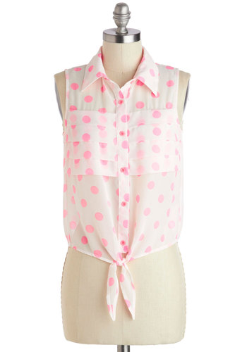 Bubblegum Bliss Top - Sheer, Short, White, Pink, Polka Dots, Buttons, Pleats, Sleeveless, Casual, Vintage Inspired, 50s, 60s, Button Down, Summer, Collared