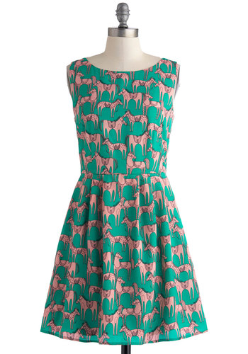 Horse of a Different Color Dress - Mint, Pink, Print with Animals, Casual, A-line, Sleeveless, Scoop, Short, Pleats