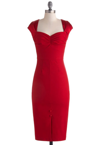Red Carpet Ready Dress by Stop Staring! - Long, Red, Solid, Backless, Bows, Buttons, Cocktail, Sheath / Shift, Cap Sleeves, Sweetheart, Valentine's