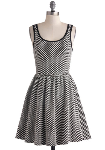 Start Your Engines Dress - Mid-length, Black, White, Checkered / Gingham, Casual, A-line, Tank top (2 thick straps), Scoop