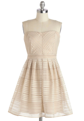 Beauty and the Beechwood Dress - Tan, Solid, Pleats, Party, A-line, Strapless, Sweetheart, Mid-length, Chiffon, Sheer, Woven