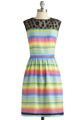 Colorful of Ideas Dress - Multi, Stripes, Pockets, Party, A-line, Sleeveless, Crew, Polka Dots, Exclusives, Sheer, Woven, Mid-length
