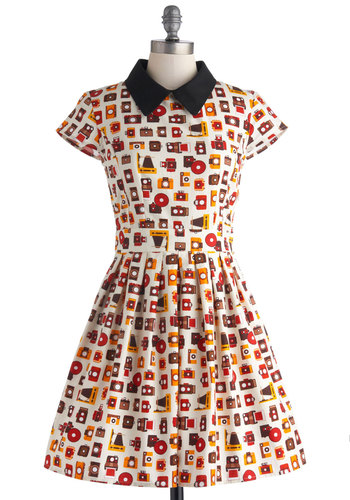 Poise and Click Dress - Cotton, Mid-length, Novelty Print, Pockets, Casual, Fit & Flare, Short Sleeves, Collared, Multi, Red, Yellow, Black, White, Vintage Inspired, Exclusives, Top Rated