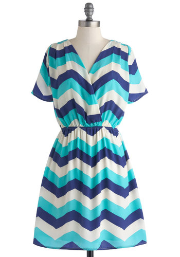 Make a Move Dress - Mid-length, Blue, White, Chevron, Casual, Wrap, Short Sleeves, V Neck