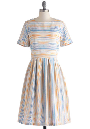 Train Station Platform Dress - Long, Yellow, Blue, White, Stripes, Casual, A-line, Short Sleeves, Scoop, Multi, Spring, Summer, Exclusives