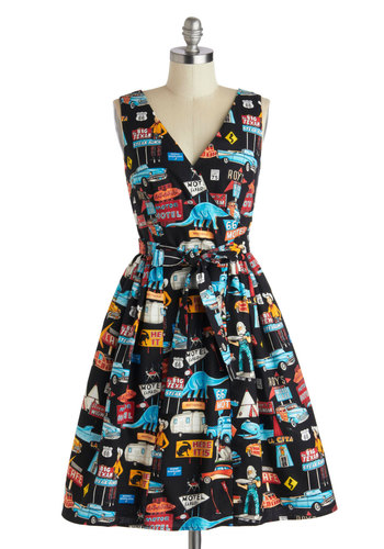 Roadside Attraction Dress - Cotton, Novelty Print, Pockets, Belted, A-line, V Neck, Vintage Inspired, 50s, 60s, Fit & Flare, Sleeveless, Summer, Exclusives, Statement, Top Rated, Multi, Red, Yellow, Blue, Black, Casual, Full-Size Run, Mid-length