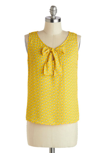 Bloom Me Away Top - Yellow, Blue, Tie Neck, Work, Daytime Party, Sleeveless, Mid-length, Floral, Summer