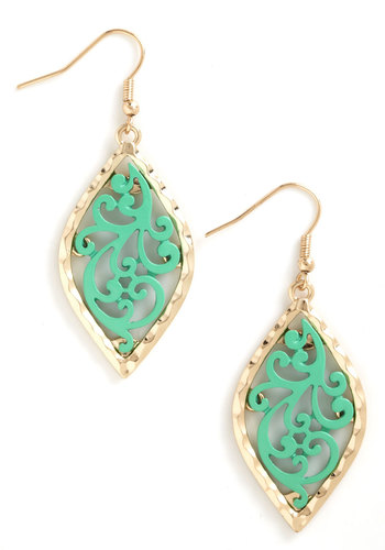 Leafing through a Story Earrings - Mint, Gold, Solid, Cutout, Trim, Gold