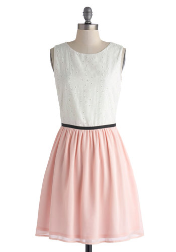 Piece of Cupcake Dress - Mid-length, Pink, White, Eyelet, A-line, Sleeveless, Scoop, Daytime Party, Fairytale, Pastel, Spring