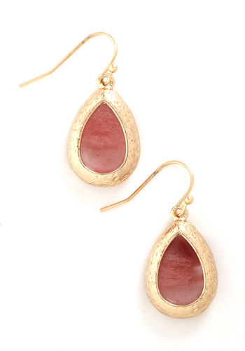 Drop of Rosewater Earrings - Pink, Gold, Solid, Trim, Work, Gold