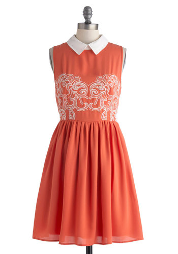 Carrot Cakewalk Dress - Sheer, Mid-length, Orange, White, Embroidery, Casual, A-line, Sleeveless, Collared