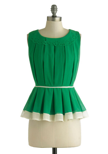 Bask in the Grass Top - Mid-length, Green, White, Solid, Pleats, Trim, Work, Daytime Party, Peplum, Sleeveless, Summer