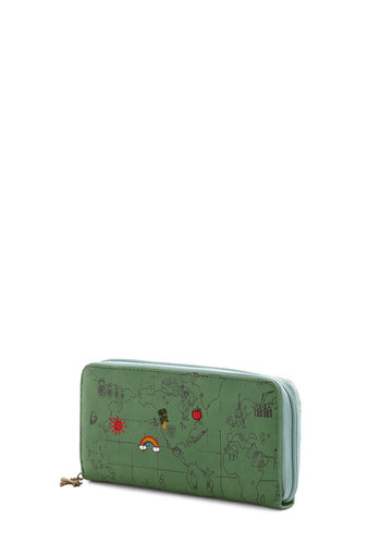 Travel Fund Wallet - Green, Multi, Travel, Novelty Print, Faux Leather