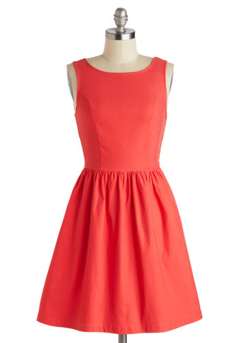 Ooh La Love It Dress - Mid-length, Red, Solid, Bows, Cutout, Party, A-line, Tank top (2 thick straps), Scoop, Wedding