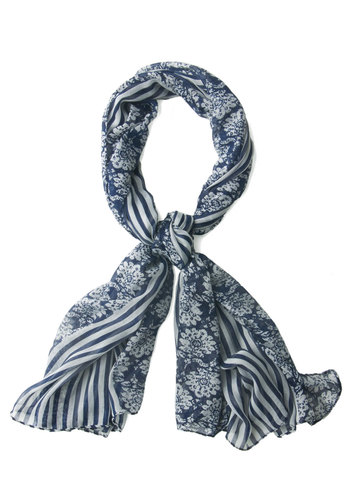 Ins and Sprouts Scarf - Blue, Stripes, Floral, White