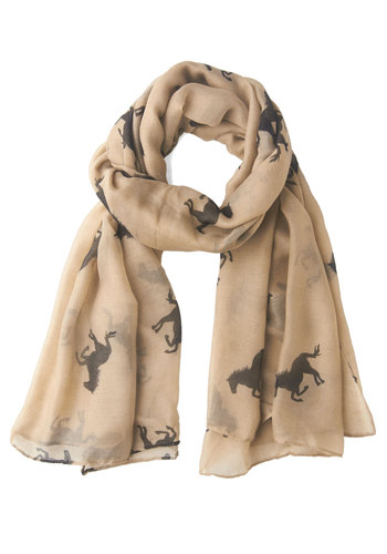 She's a Lucky Gallop Scarf - Black, Print with Animals, Sheer, Tan, Top Rated