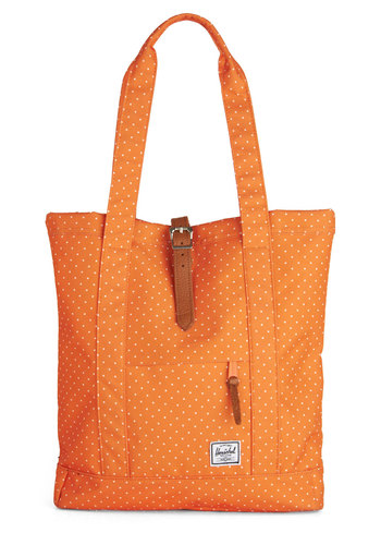 Apricot You Smiling Tote by Herschel Supply Co. - Orange, White, Polka Dots, Buckles, Travel, Scholastic/Collegiate