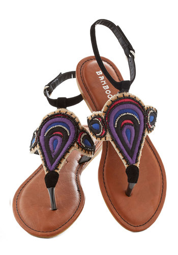 Drops of Adornment Sandal - Black, Multi, Beads, Beach/Resort, Boho, Summer, Flat, Purple, Print, Casual