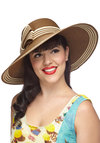 Style My Sunshine Hat in Cocoa - Brown, Tan / Cream, Solid, Stripes, Bows, Trim, Daytime Party, Beach/Resort, Summer, Variation