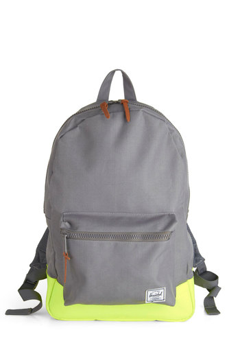 Lime Ready for Adventure Backpack by Herschel Supply Co. - Grey, Green, Solid, Scholastic/Collegiate, Neon, Travel, 90s