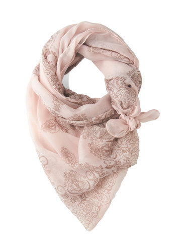 Through the Garden Great Scarf in Pink - Pink, Brown, Print, Sheer, Pastel, Variation