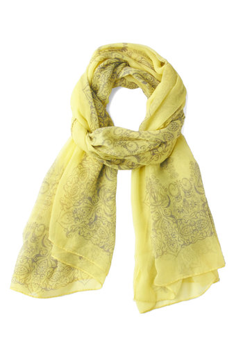 Through the Garden Great Scarf in Yellow - Yellow, Grey, Print, Sheer, Pastel, Variation