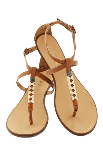 Golden Morning Sandal in Camel - Tan, Beach/Resort, Summer, Flat, Faux Leather, Casual, Boho, Variation