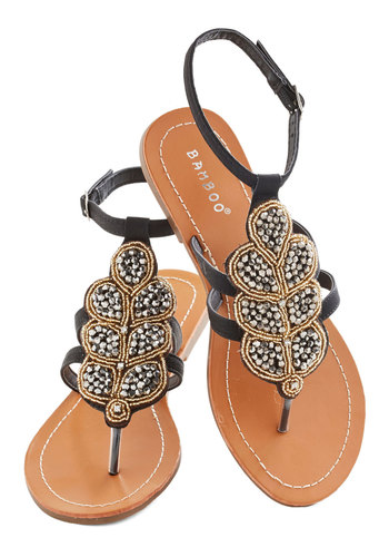 Outta Anthracite Sandal - Black, Silver, Gold, Beads, Beach/Resort, Summer, Flat, Faux Leather, Daytime Party