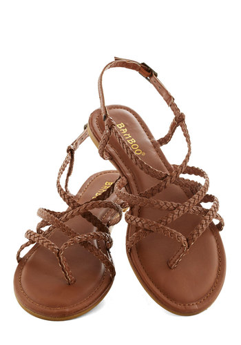 Twist upon a Star Sandal - Tan, Braided, Beach/Resort, Boho, Summer, Flat, Faux Leather, Solid, Casual, Strappy