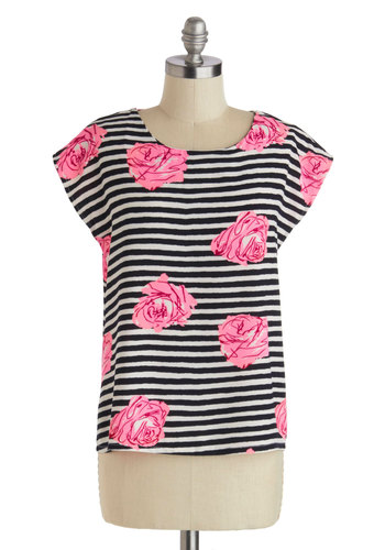 Time of Your Nightlife Top - Mid-length, Multi, Pink, Black, White, Stripes, Floral, Short Sleeves, Pink, Short Sleeve