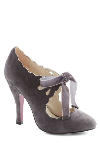 Stagehand in Hand Heel in Grey - Grey, Solid, Cutout, Scallops, High, Leather, Suede