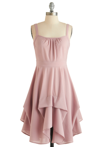 Always Have Paris Dress - Short, Pink, Solid, Ruffles, Party, A-line, Spaghetti Straps, Sweetheart, Pastel, Exclusives, Wedding, Bridesmaid