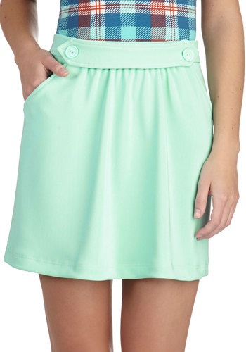 Bestie Date Skirt - Short, Mint, Solid, Pockets, Pastel, A-line, Mini, Buttons, Casual, Mod, Scholastic/Collegiate, Spring