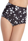 Swim Upon a Star Swimsuit Bottom - Black, White, Beach/Resort, High Waist, Summer, Novelty Print