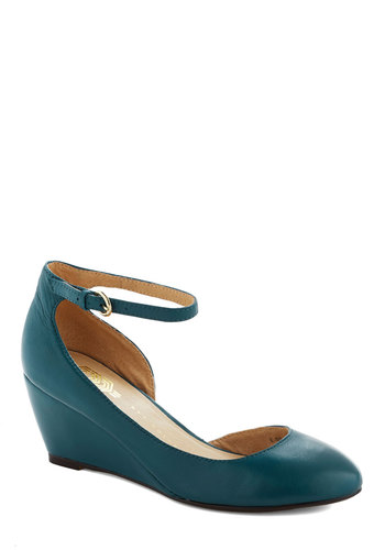 Stylish Steps Wedge in Ocean - Blue, Solid, Work, Wedge, Mary Jane, Mid, Leather, Minimal, Variation, Top Rated