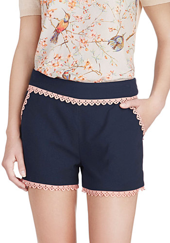 Scallop in the Air Shorts by Pink Martini - Blue, Solid, Eyelet, Beach/Resort, Pinup, Vintage Inspired, Short, Pink, Pockets, Scallops, Trim, Casual, Daytime Party, Summer