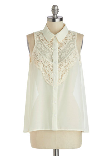 Chilled Chardonnay Top - Mid-length, White, Solid, Buttons, Crochet, Lace, Work, Vintage Inspired, Sleeveless, Collared, Daytime Party, Button Down, Sheer